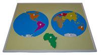 Карта континентов с пластиковым кругом (50*60 см.)